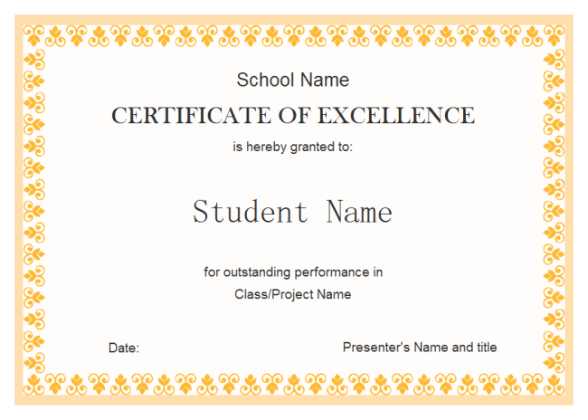 Certificate Of Excellence For Students