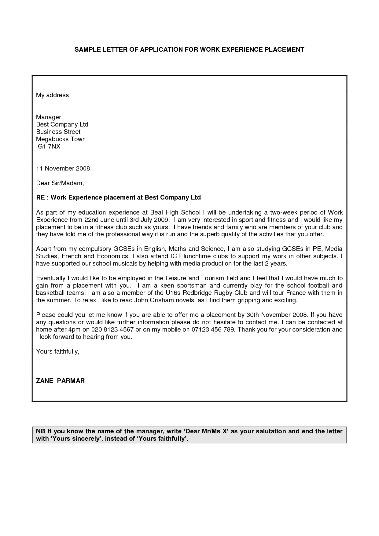 Field Placement Cover Letter Examples Of Cover Letters For Work Placements Docoments