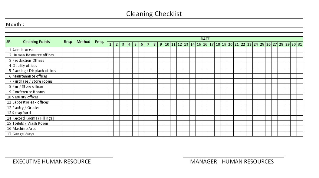 Daily Office Cleaning Checklist Excel