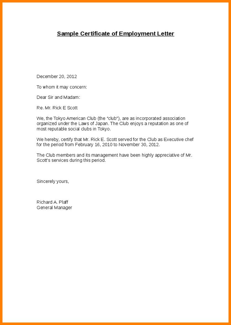 Sample Enrollment Employment Verification Letter Template on letter example, letter for past employee,