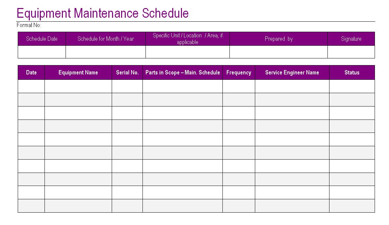 maintenance mode html template - equipment maintenance schedule template excel planner