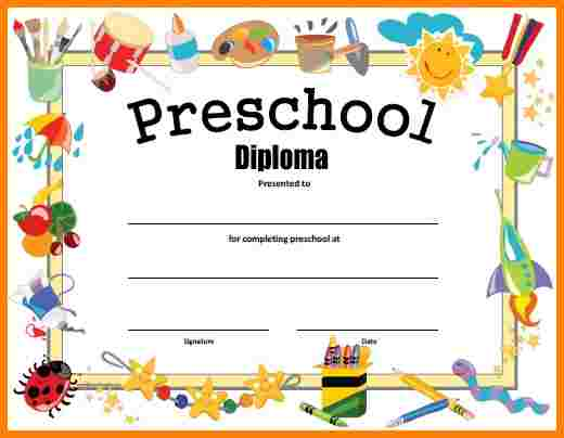 This is a picture of Crazy Printable Preschool Diplomas