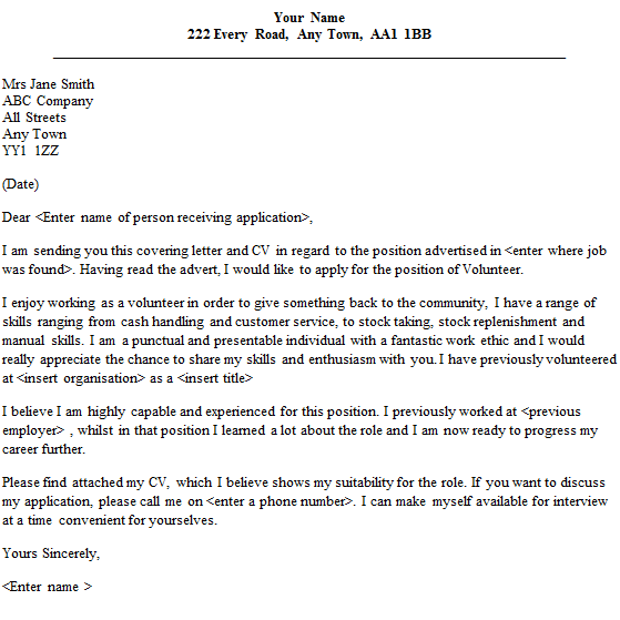 Internet Cover Letter: How To Write A Volunteer Letter For Someone