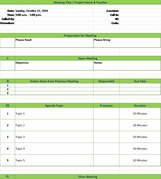 Meeting Planner Template Excel - planner template free