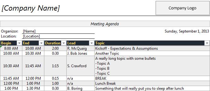 meeting planner template excel