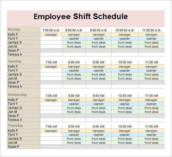 monthly employee shift schedule template planner template free. Black Bedroom Furniture Sets. Home Design Ideas