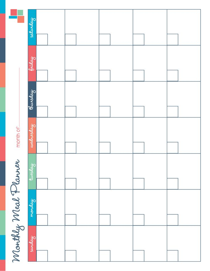 Monthly Meal Planner Template | planner template free