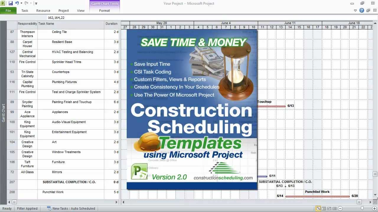 ms project sample construction schedule