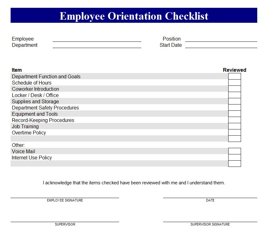 New Employee Orientation Checklist Excel - planner ...