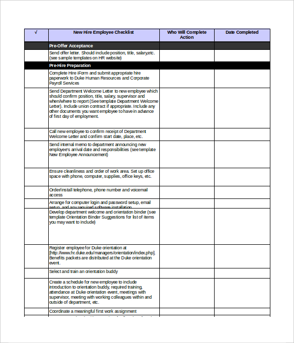 orientation checklist template for new employee