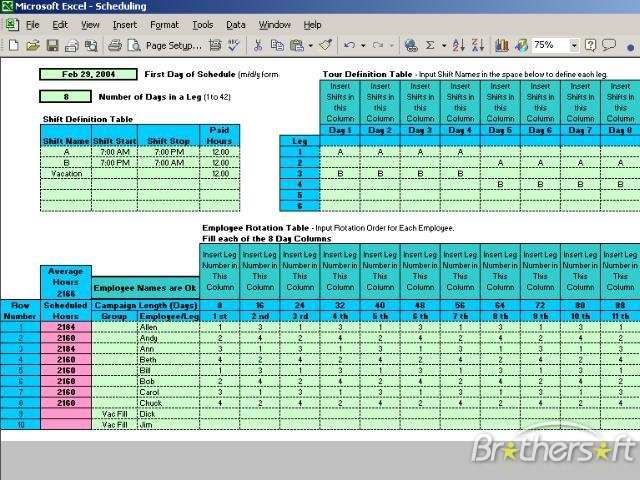 Rotating Schedule Maker - planner template free