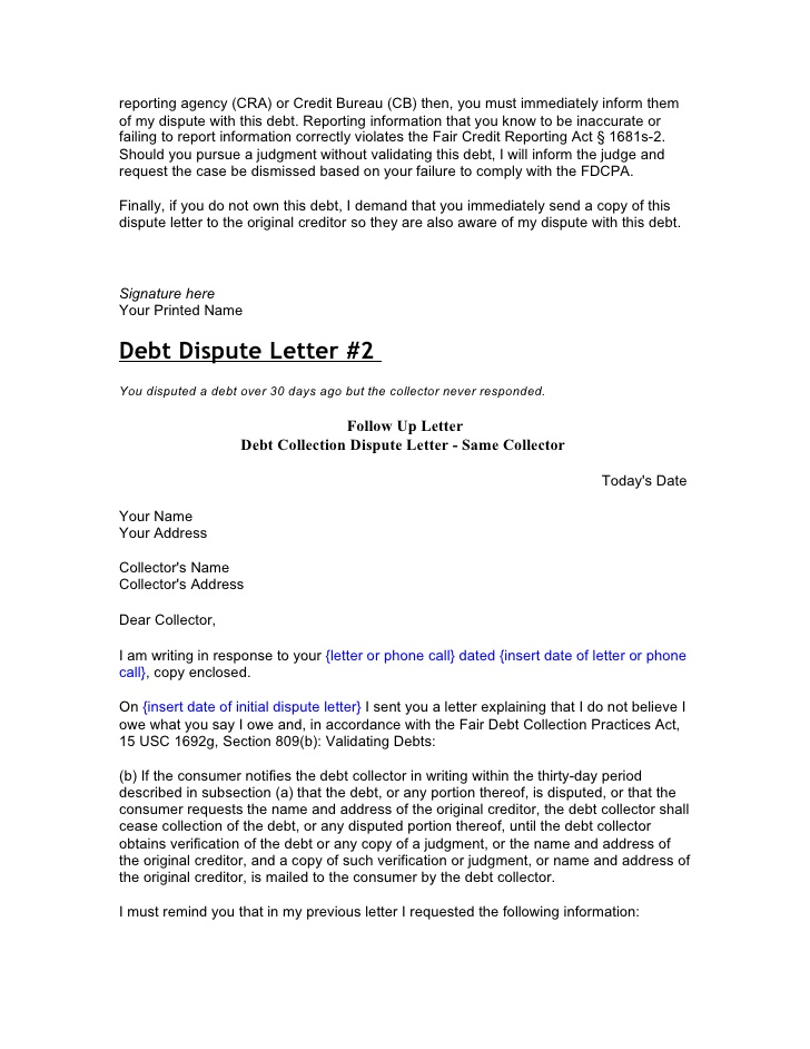 Sample Letter To Debt Collection Agency