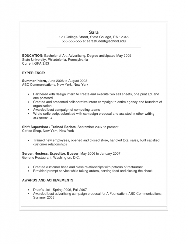 Job Resume For College Students Examples