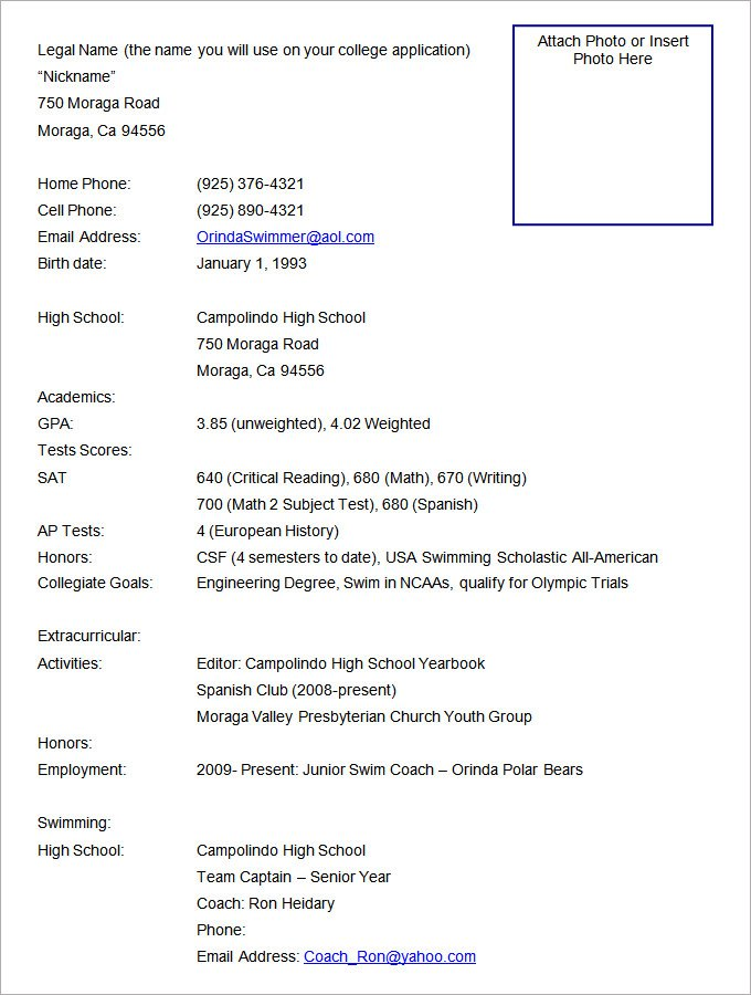 sample resume with photo attached