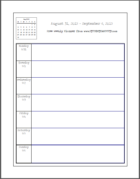 Student Planner Template Free Printable | planner template free