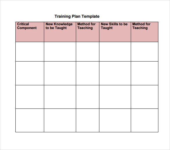 Training Plan Template Excel Download  U2013 Planner Template Free