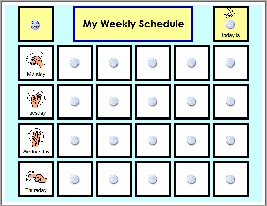visual schedule pictures for home