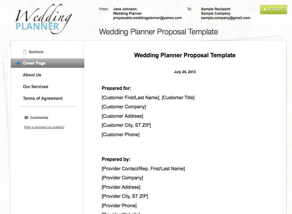 Wedding Planner Quotation Template